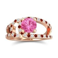 Pink Tourmaline Modern Pave Kandi Ring with Diamond and Garnet in 18K Rose Gold