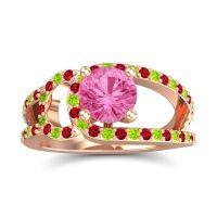 Pink Tourmaline Modern Pave Kandi Ring with Ruby and Peridot in 18K Rose Gold