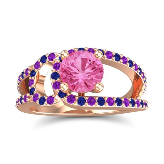 Pink Tourmaline Modern Pave Kandi Ring with Amethyst and Blue Sapphire in 14K Rose Gold