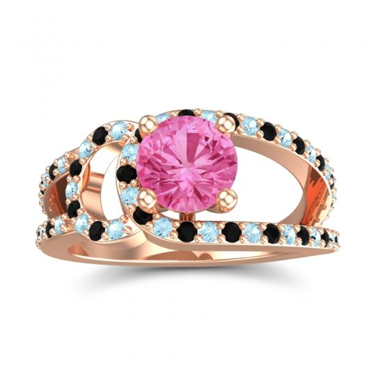 Pink Tourmaline Modern Pave Kandi Ring with Aquamarine and Black Onyx in 14K Rose Gold