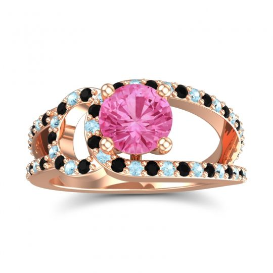 Pink Tourmaline Modern Pave Kandi Ring with Black Onyx and Aquamarine in 14K Rose Gold