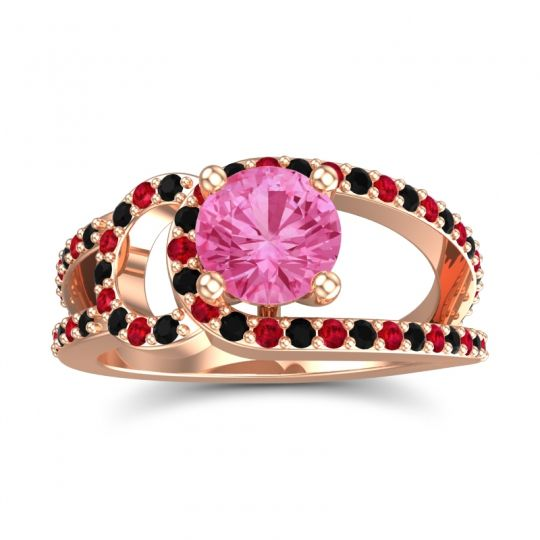 Pink Tourmaline Modern Pave Kandi Ring with Black Onyx and Ruby in 14K Rose Gold