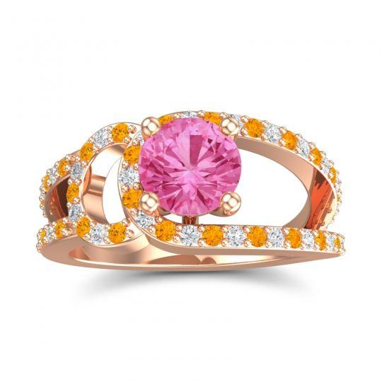 Pink Tourmaline Modern Pave Kandi Ring with Citrine and Diamond in 14K Rose Gold