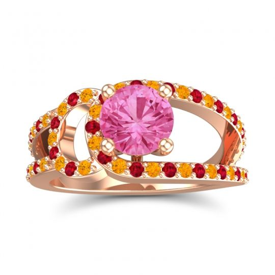 Pink Tourmaline Modern Pave Kandi Ring with Citrine and Ruby in 14K Rose Gold