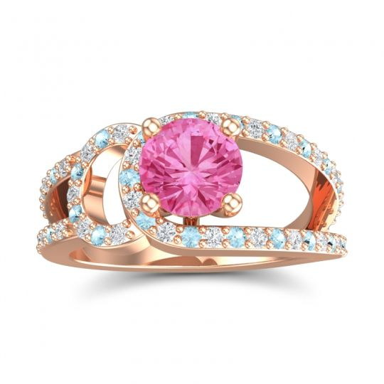 Pink Tourmaline Modern Pave Kandi Ring with Diamond and Aquamarine in 14K Rose Gold