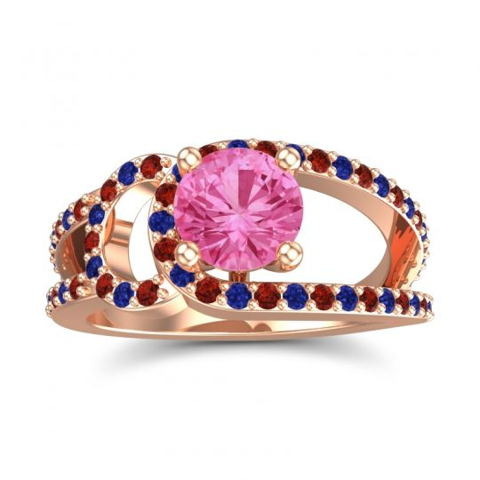 Pink Tourmaline Modern Pave Kandi Ring with Garnet and Blue Sapphire in 14K Rose Gold