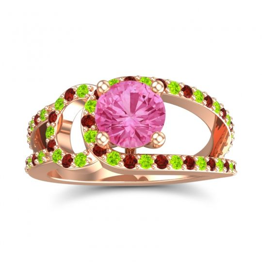 Pink Tourmaline Modern Pave Kandi Ring with Peridot and Garnet in 14K Rose Gold