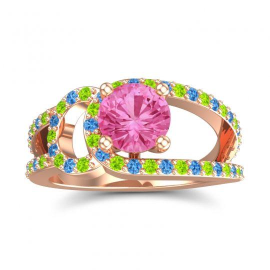 Pink Tourmaline Modern Pave Kandi Ring with Peridot and Swiss Blue Topaz in 14K Rose Gold