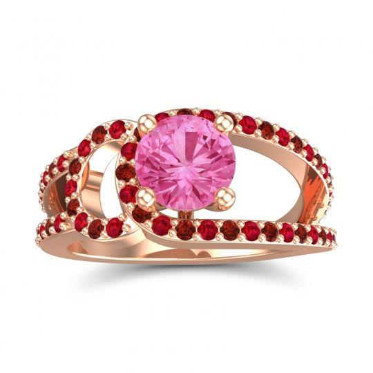 Pink Tourmaline Modern Pave Kandi Ring with Ruby and Garnet in 14K Rose Gold