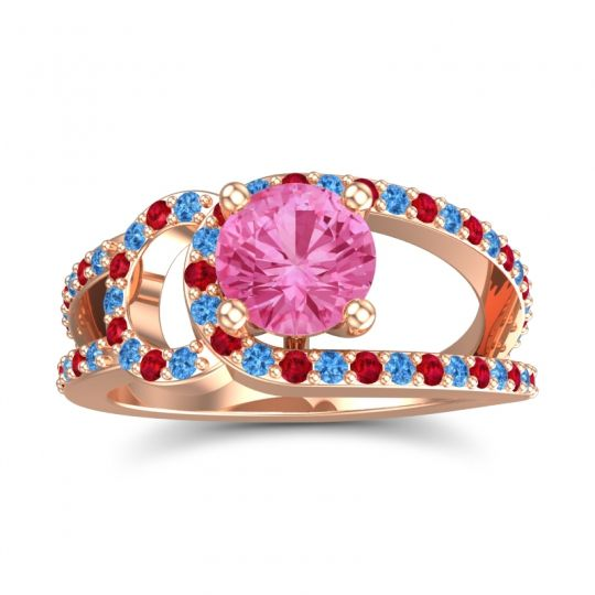 Pink Tourmaline Modern Pave Kandi Ring with Swiss Blue Topaz and Ruby in 14K Rose Gold