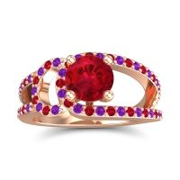 Ruby Modern Pave Kandi Ring with Amethyst in 18K Rose Gold
