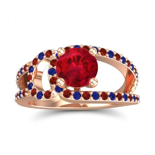Ruby Modern Pave Kandi Ring with Garnet and Blue Sapphire in 14K Rose Gold