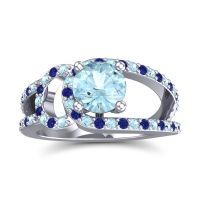 Aquamarine Modern Pave Kandi Ring with Blue Sapphire in 14k White Gold
