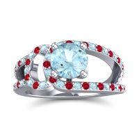 Aquamarine Modern Pave Kandi Ring with Ruby in Palladium