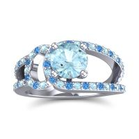 Aquamarine Modern Pave Kandi Ring with Swiss Blue Topaz in 14k White Gold