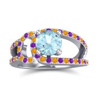 Aquamarine Modern Pave Kandi Ring with Citrine and Amethyst in Palladium