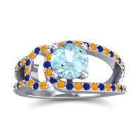 Aquamarine Modern Pave Kandi Ring with Citrine and Blue Sapphire in 14k White Gold