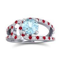 Aquamarine Modern Pave Kandi Ring with Diamond and Ruby in 14k White Gold