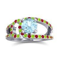 Aquamarine Modern Pave Kandi Ring with Peridot and Ruby in Platinum