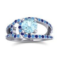 Aquamarine Modern Pave Kandi Ring with Swiss Blue Topaz and Blue Sapphire in 18k White Gold