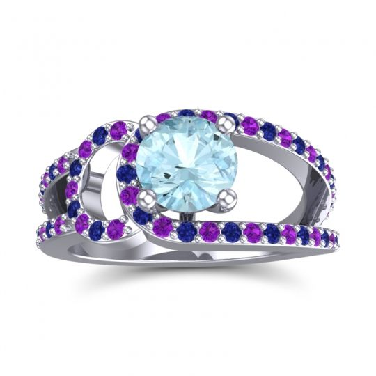 Aquamarine Modern Pave Kandi Ring with Amethyst and Blue Sapphire in 18k White Gold