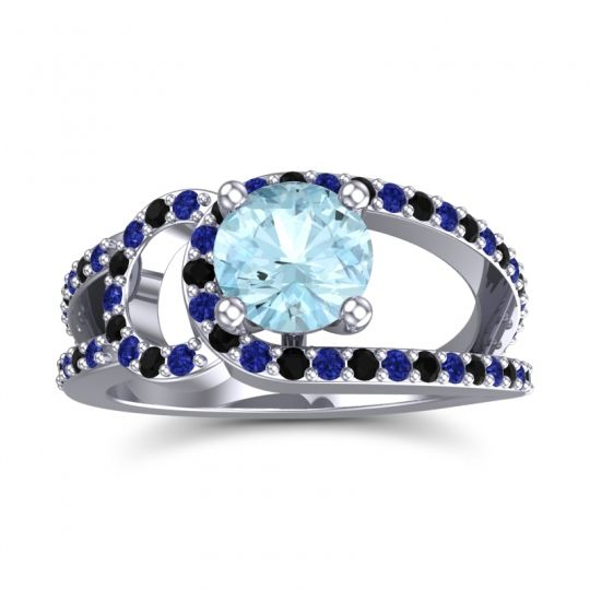 Aquamarine Modern Pave Kandi Ring with Blue Sapphire and Black Onyx in 14k White Gold