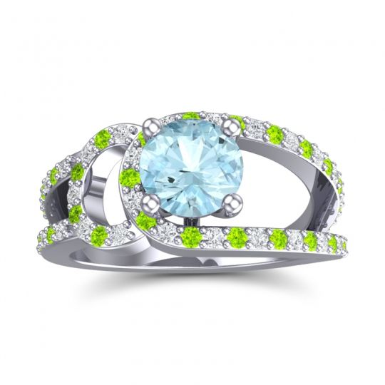 Aquamarine Modern Pave Kandi Ring with Diamond and Peridot in 14k White Gold