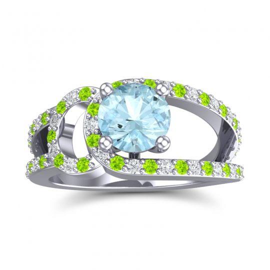 Aquamarine Modern Pave Kandi Ring with Peridot and Diamond in Palladium