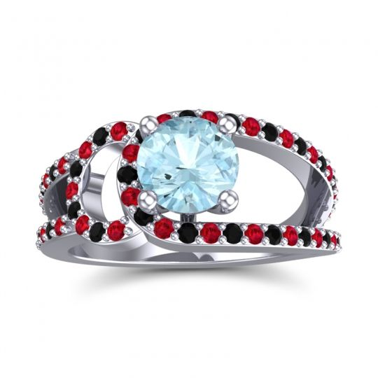 Aquamarine Modern Pave Kandi Ring with Ruby and Black Onyx in Platinum