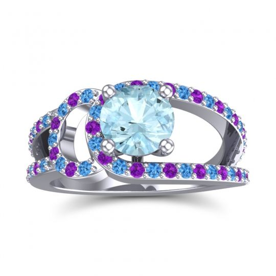 Aquamarine Modern Pave Kandi Ring with Swiss Blue Topaz and Amethyst in 14k White Gold