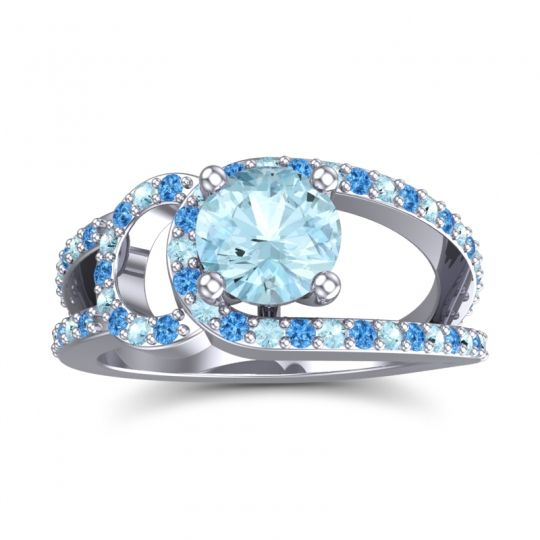 Aquamarine Modern Pave Kandi Ring with Swiss Blue Topaz in Platinum