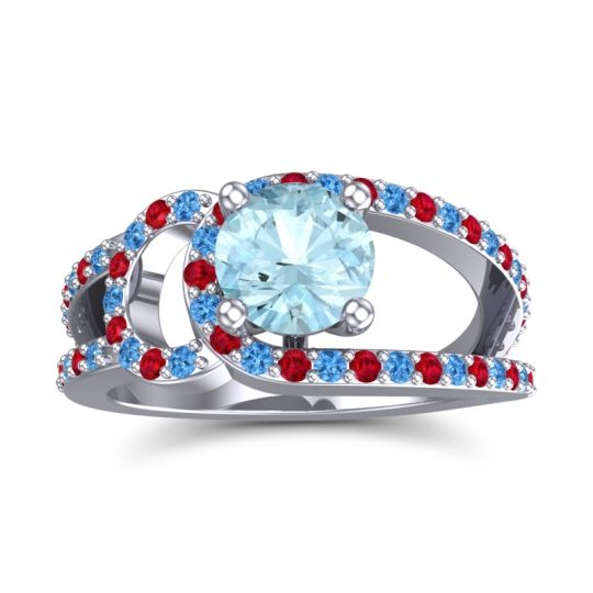 Aquamarine Modern Pave Kandi Ring with Swiss Blue Topaz and Ruby in 14k White Gold