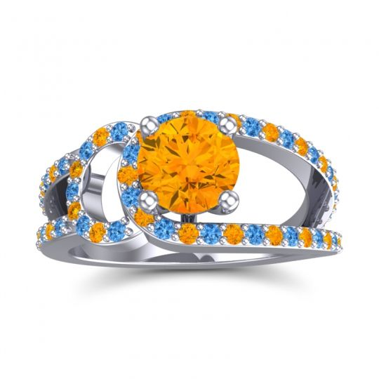 Citrine Modern Pave Kandi Ring with Swiss Blue Topaz in Platinum