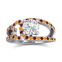 Diamond Modern Pave Kandi Ring with Garnet and Citrine in 18k White Gold