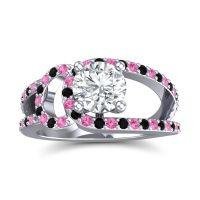 Diamond Modern Pave Kandi Ring with Pink Tourmaline and Black Onyx in 18k White Gold