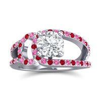 Diamond Modern Pave Kandi Ring with Pink Tourmaline and Ruby in 18k White Gold