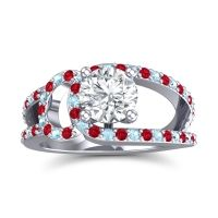 Diamond Modern Pave Kandi Ring with Ruby and Aquamarine in Platinum