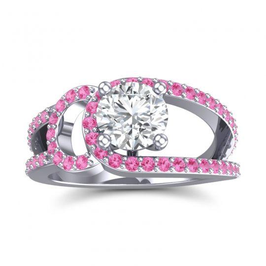 Diamond Modern Pave Kandi Ring with Pink Tourmaline in 18k White Gold