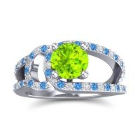 Peridot Modern Pave Kandi Ring with Swiss Blue Topaz and Diamond in Palladium