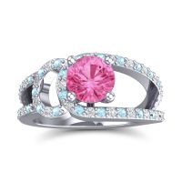 Pink Tourmaline Modern Pave Kandi Ring with Aquamarine and Diamond in Platinum