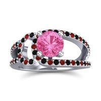 Pink Tourmaline Modern Pave Kandi Ring with Black Onyx and Garnet in 18k White Gold