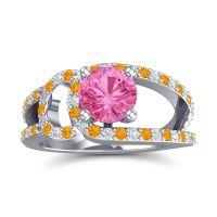 Pink Tourmaline Modern Pave Kandi Ring with Citrine and Diamond in 18k White Gold