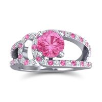 Pink Tourmaline Modern Pave Kandi Ring with Diamond in 14k White Gold