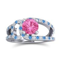 Pink Tourmaline Modern Pave Kandi Ring with Diamond and Swiss Blue Topaz in 14k White Gold