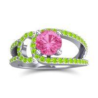 Pink Tourmaline Modern Pave Kandi Ring with Peridot in Platinum