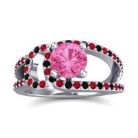 Pink Tourmaline Modern Pave Kandi Ring with Ruby and Black Onyx in 14k White Gold
