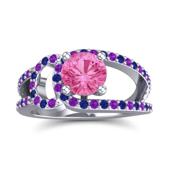 Pink Tourmaline Modern Pave Kandi Ring with Amethyst and Blue Sapphire in Platinum