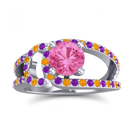Pink Tourmaline Modern Pave Kandi Ring with Amethyst and Citrine in 18k White Gold