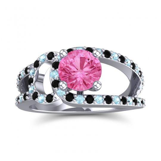 Pink Tourmaline Modern Pave Kandi Ring with Black Onyx and Aquamarine in 18k White Gold