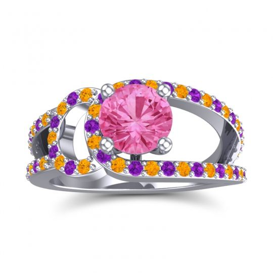 Pink Tourmaline Modern Pave Kandi Ring with Citrine and Amethyst in 14k White Gold